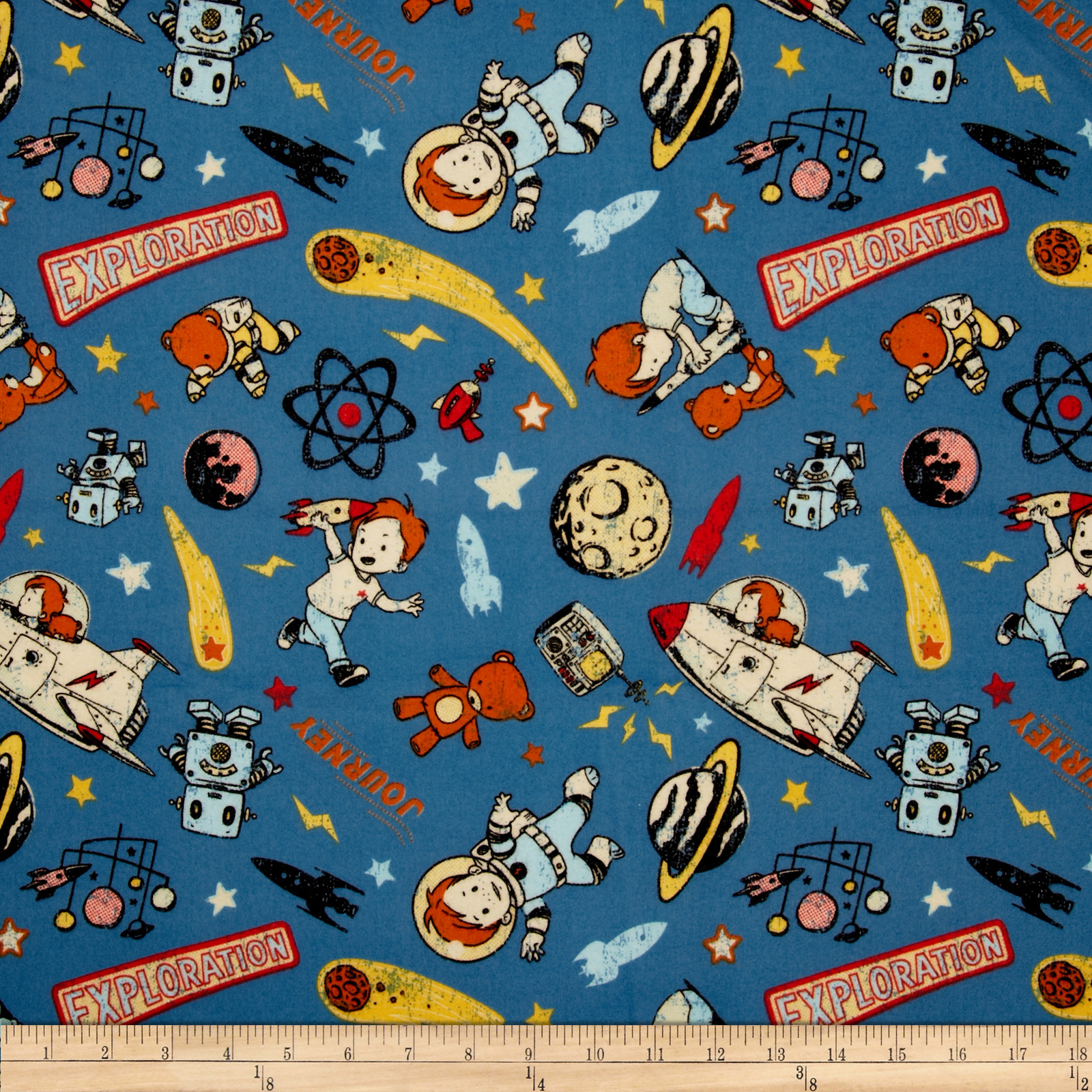 Space age discount designer fabric for Space flannel fabric