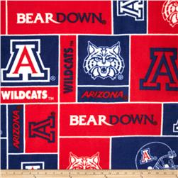 Collegiate Fleece University of Arizona Blocks Navy Fabric