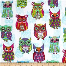 Timeless Treasures Embellished Owls White Fabric