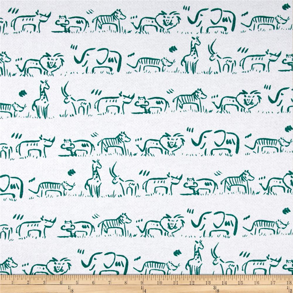 T-Shirt French Terry Knit Animal Parade Green