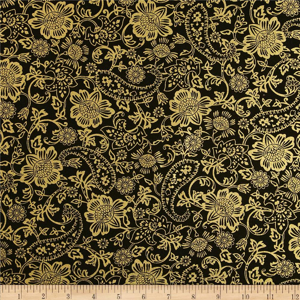 Kanvas Deck the Halls Metallic Tapestry Floral Black