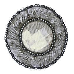 Beaded Medallion Round Applique Grey