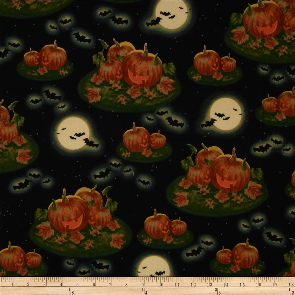 Pumpkins In The Moonlight Black
