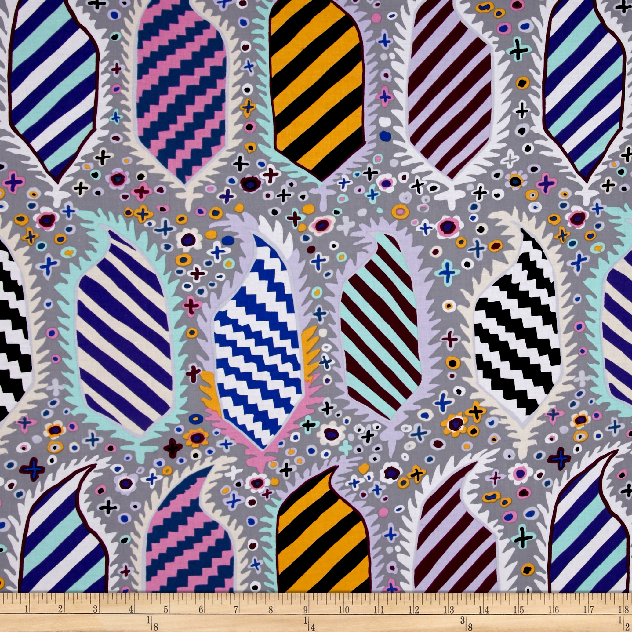 Kaffe Fassett Striped Heraldic Grey Fabric