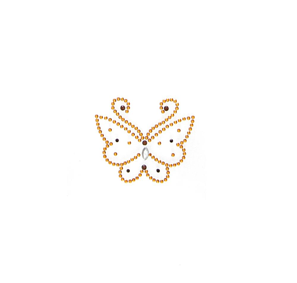 Butterfly Rhinestud Applique Gold