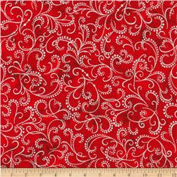 Kaufman Winter Grandeur Metallic Scroll Scarlet