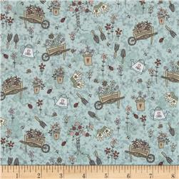 Pocketful of Daisies Garden Toss Blue Fabric