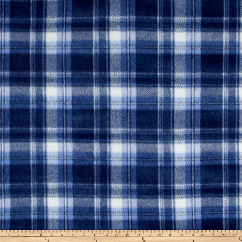 Polar Fleece Print Parson Plaid Blue Fabric By The Yard