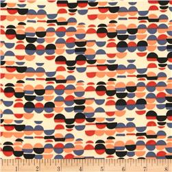 Faux Silk Abstract Dots Grey/Peach/Rust