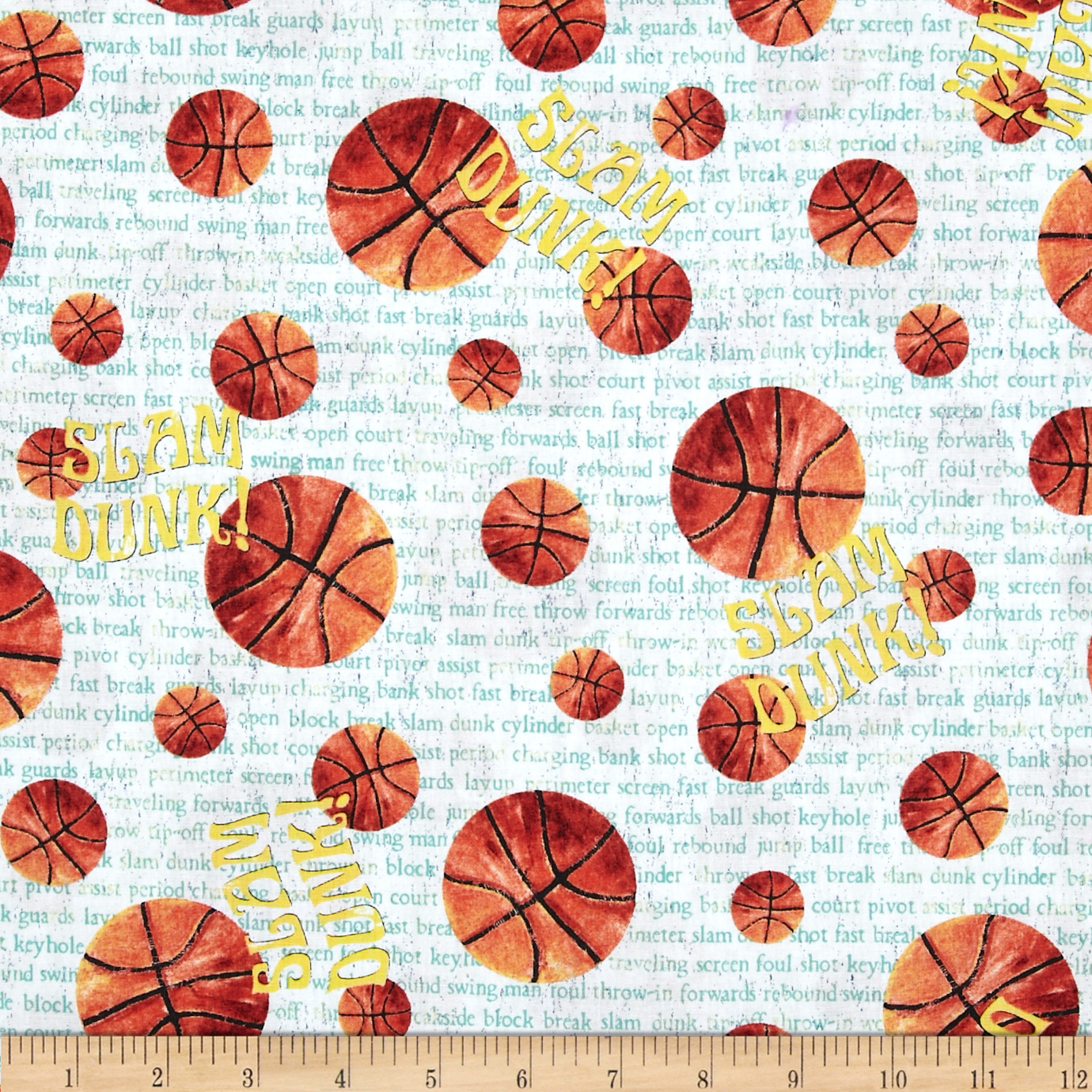 Game On! Basketball Green/Orange Fabric