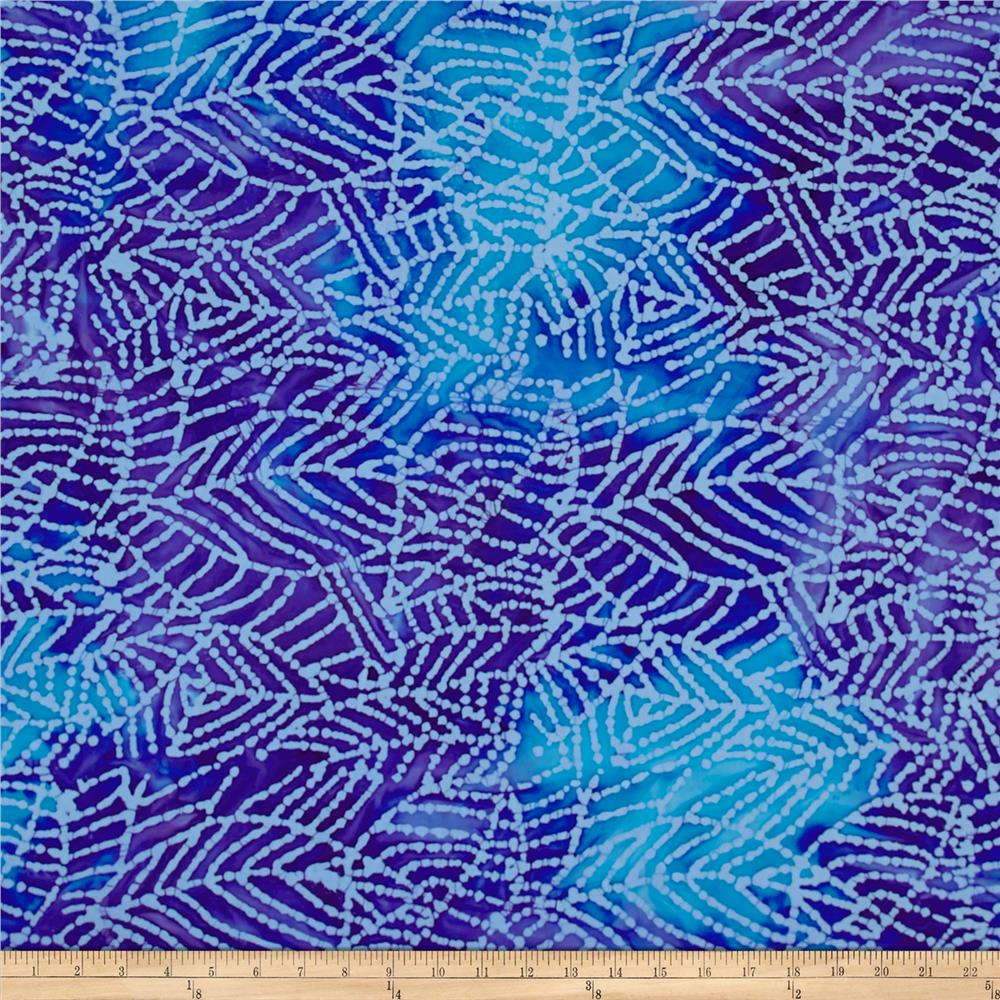 Indian Batik Mirage Abstract Leaf Blue