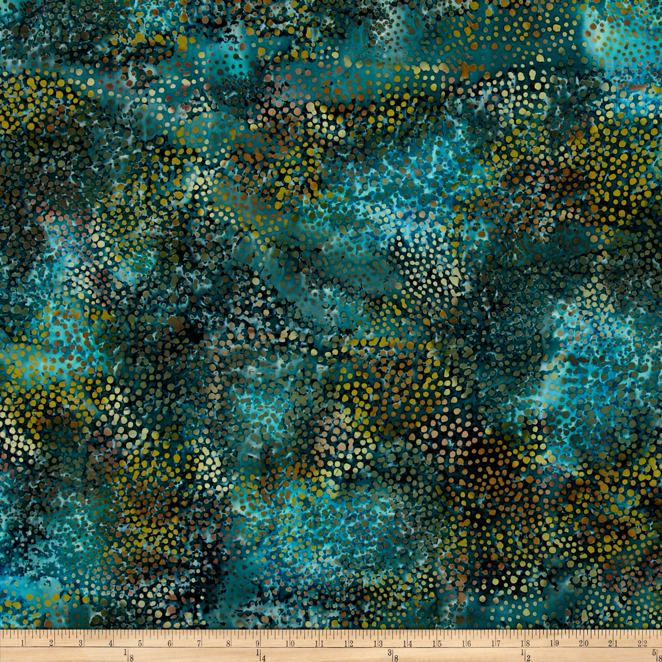 Indian Batik Cascades Dots Teal Fabric by Textile Creations in USA