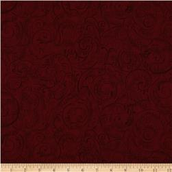 "Charleston 108"" Wide Quilt Backing Swirly Vine Red"