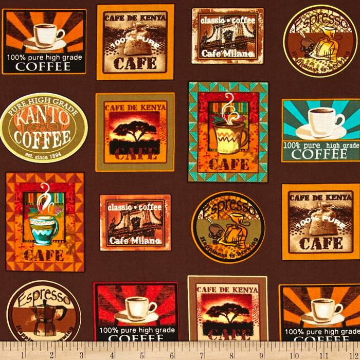 Image of Kanvas Jumping Java Coffee Labels Coffee Fabric