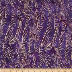 Indian Batik Montego Bay Leaf Metallic Purple