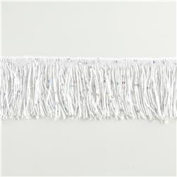 "3"" Sequin Chainette Fringe Starlight Hologram Trim White"