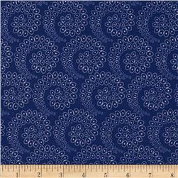 Silk Road Circles in Spirals Navy/White