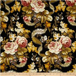 Chenonceau Flannel Large Floral Black