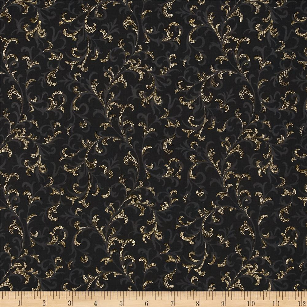 Pear Tree Greetings Metallic Foulard Black/Gold