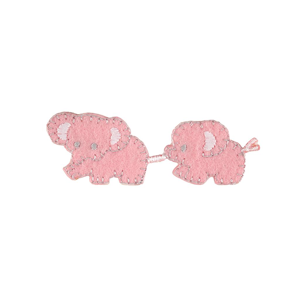 Baby Elephants Applique Pink