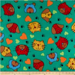 Polar Fleece Print Cat Dog Green