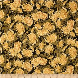 Timeless Treasures Imperial Garden Metallic Mums Black
