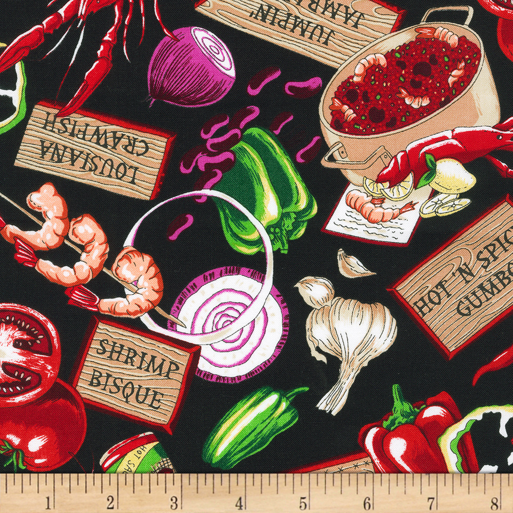Image of Salsa Picante Cajun Delight Black Fabric