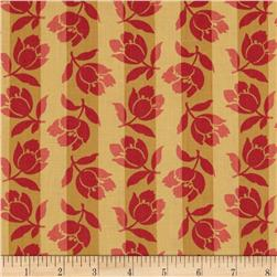 Bella Bliss Tossed Flowers on Stripes Gold/Red
