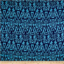 Rayon Challis Cerulian Abstract Lines on Navy