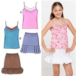 Kwik Sew Girl's Cami Tops & Skirts Pattern