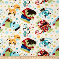 Fleece Tossed Monsters Cream Fabric