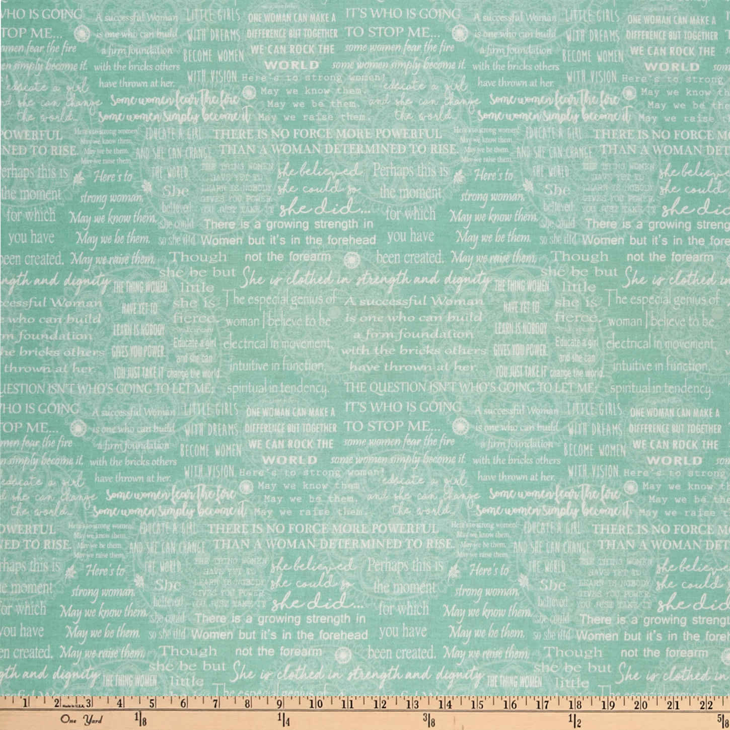 Contempo Women Are... Women Are Words Turquoise/White Fabric