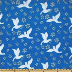 Winter Fleece Doves of Peace Blue