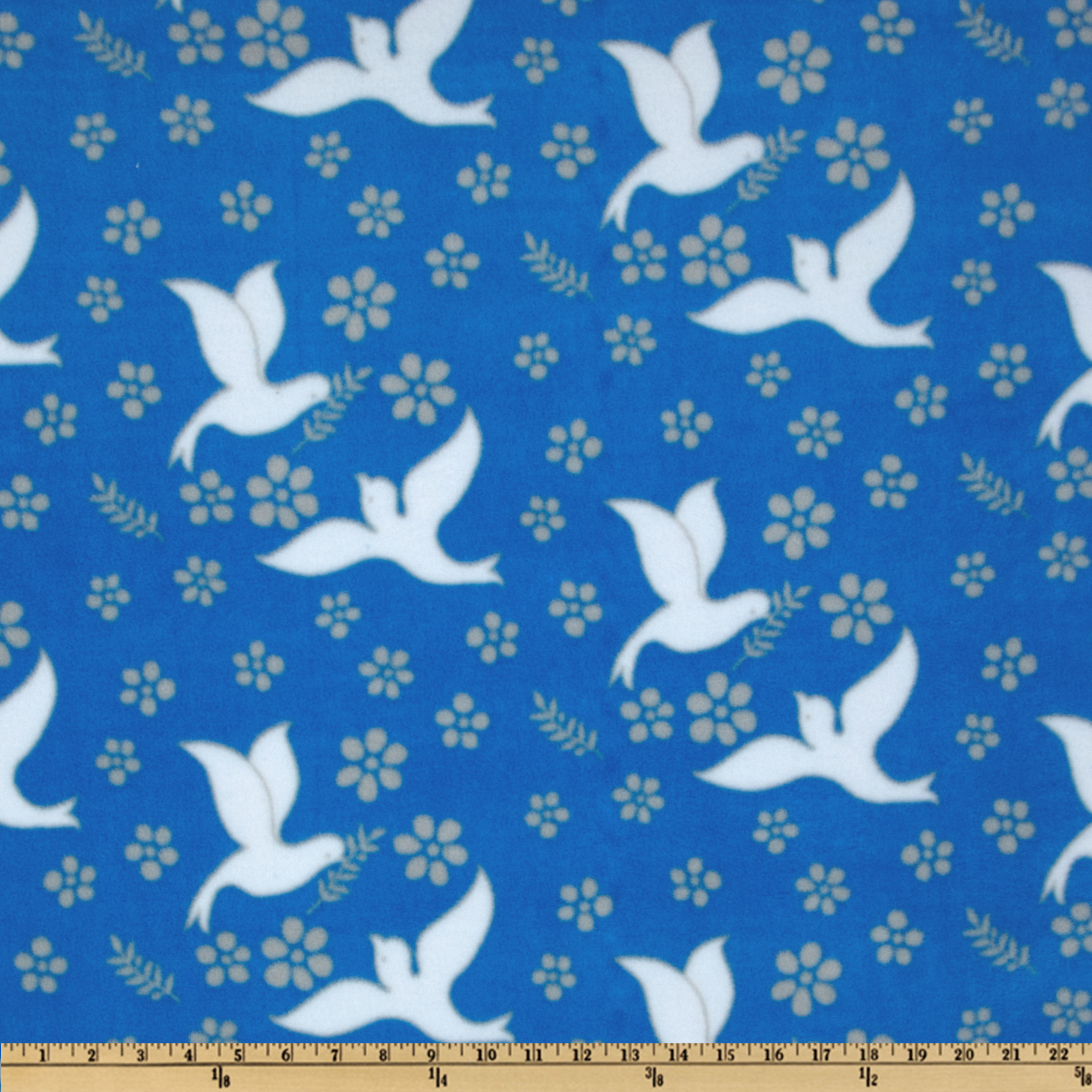 WinterFleece Doves of Peace Blue Fabric
