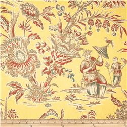 Waverly Williamsburg Asian Arcadia Toile Linen Persimmon Fabric