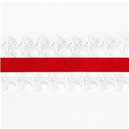 1 1/2'' White Lace Satin Center Ribbon Red
