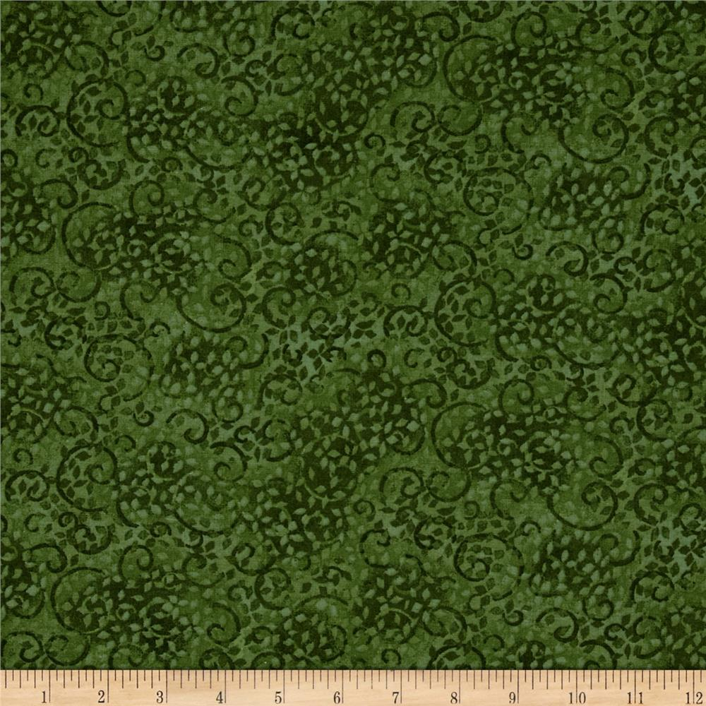 "Leafy Scroll 108"" Wide Back Green"