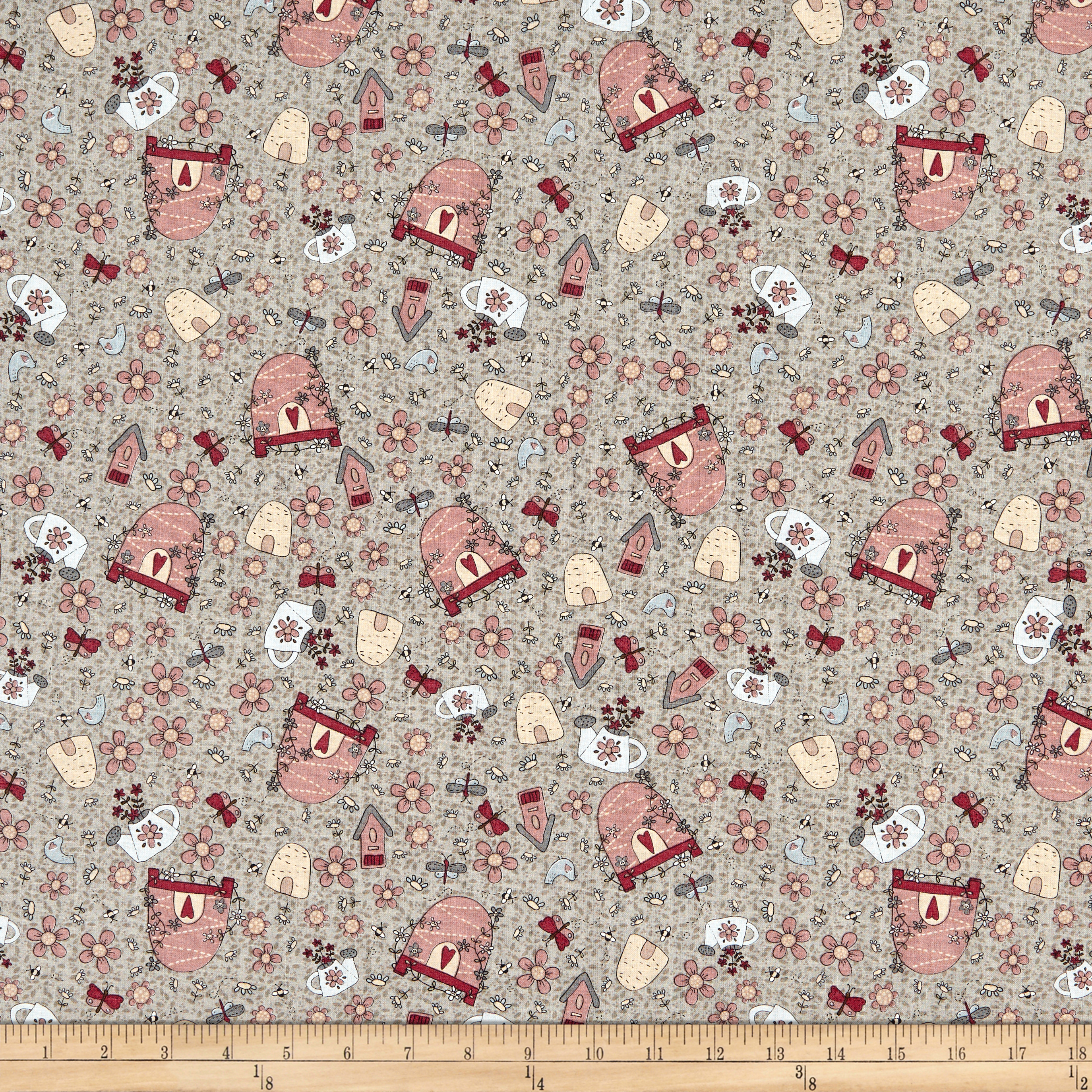 INOpets.com Anything for Pets Parents & Their Pets Lecien Sweet Garden Of Mine Garden Toss Dark Grey Fabric