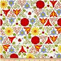 Bicycles & Blooms Stained Glass Floral White/Multi
