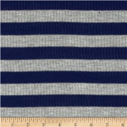 Ultra Stretch Tri Blend Yarn Dyed Jersey Knit Stripes Navy/Grey