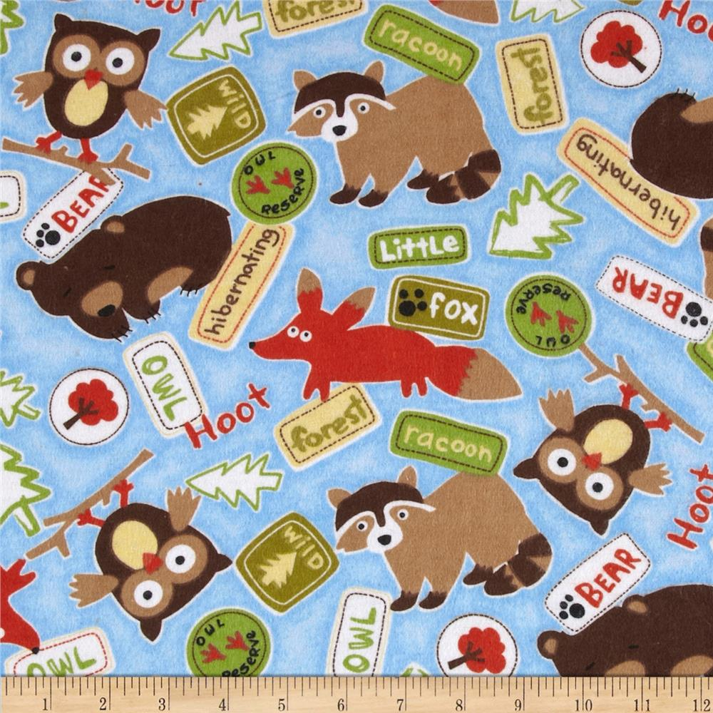 Comfy Flannel Woodland Critters & Signs Blue