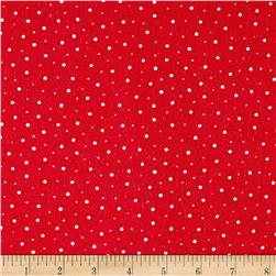 Moda Red Dot Green Dash Brushed Cottons Flurries Poinsettia Red