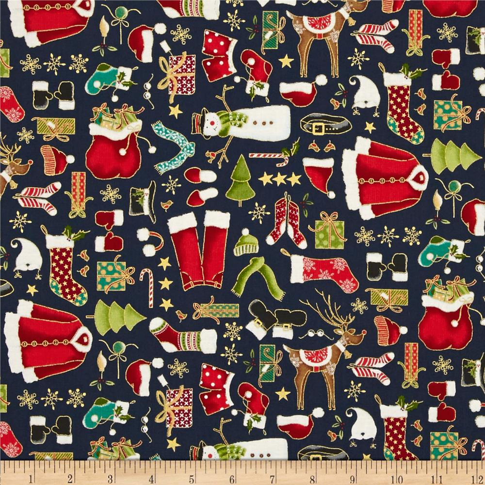 Christmas Metallic Santa's Clothes Navy