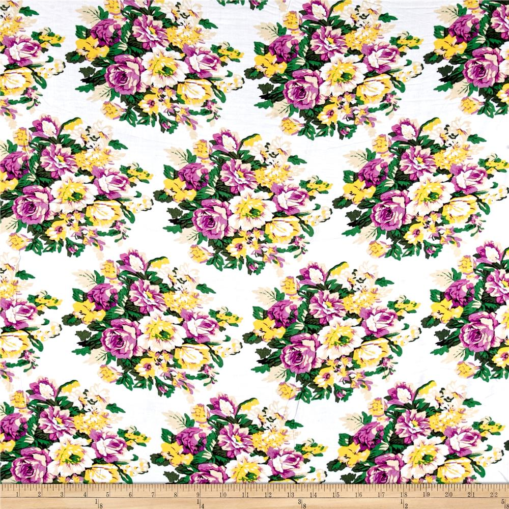 Rayon Challis Summer Floral Purple