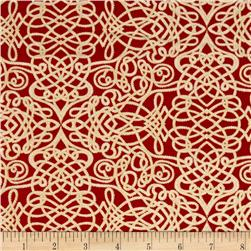 Robert Kaufman Holiday Flourish Metallic Squiggle Scarlet