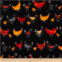 Robert Kaufman Metro Market Funky Chickens Black Fabric
