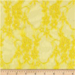 Stretch Floral Lace Yellow Fabric