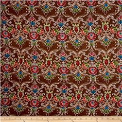 Rayon Challis Tribal Red Medallion and Florals on Brown