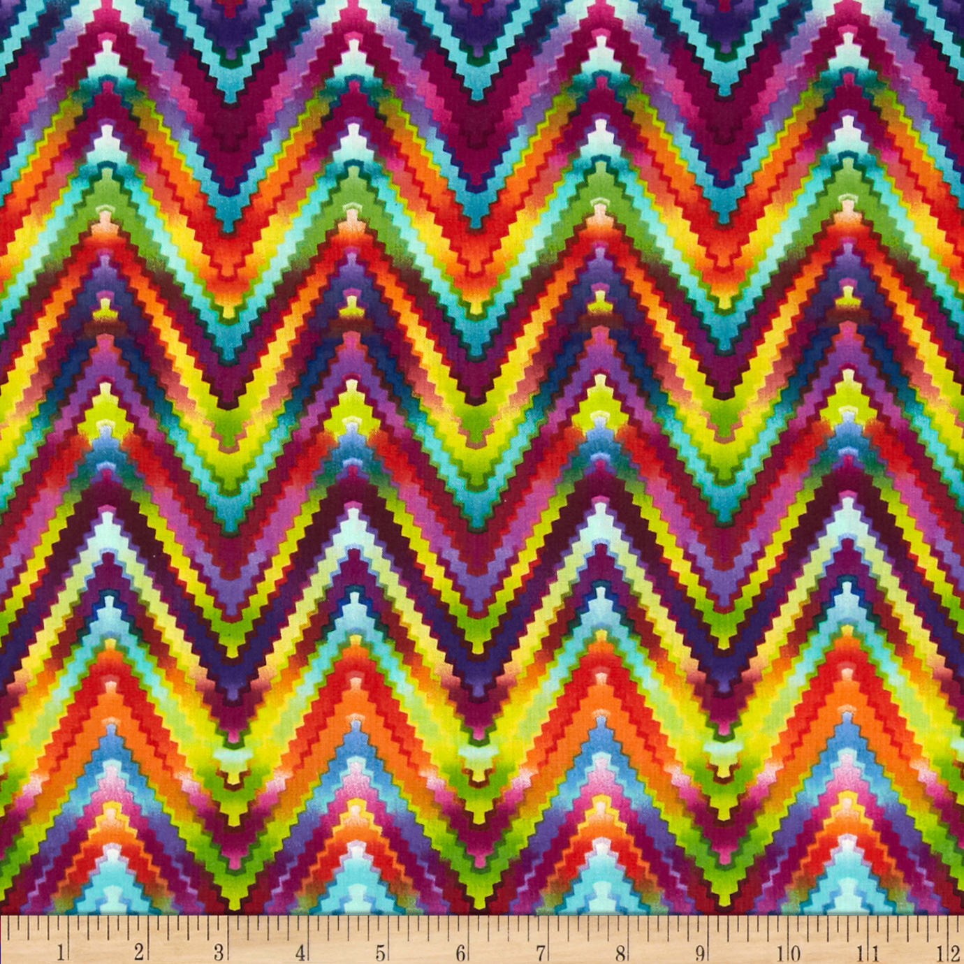 Kanvas Patio Prints Rainbow Ric Rac Multi Fabric
