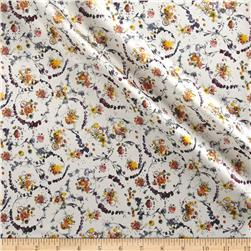 Liberty of London Belgravia Silk Satin Floral Thyme White/Purple/Yellow